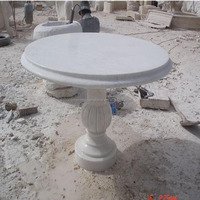 Outdoors White Marble Stone Tops Dining Laminated Table