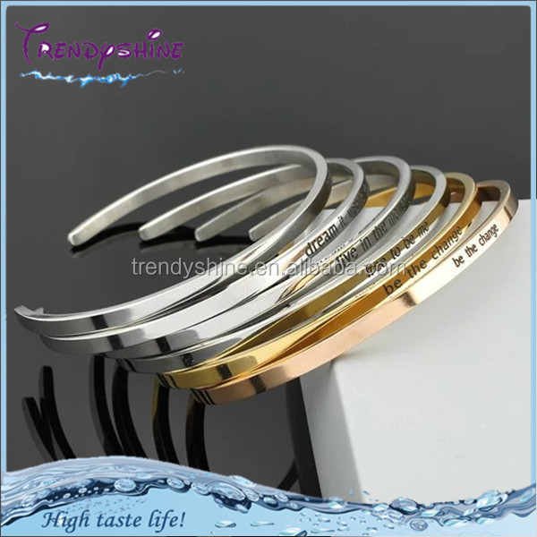 Cheap elastic stainless steel nickle free custom engraved bracelets for women