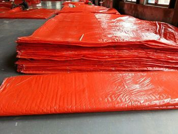 PE enclosure Insulated tarp with foam/orange poly foam insulated tarps