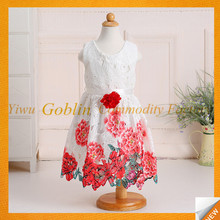 GBIY-740 Kids Frocks Design 2016 Beautiful Rose Flower Printed Baby Summer Dress New Model Frocks Dresses Kids One-piece Dress
