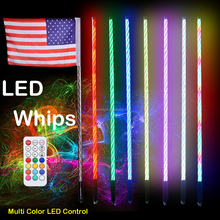 2pc 3ft LED Whip Lights w/ Flag 21 Modes 20 Colors Wireless Remote Weatherproof Lighted Antenna Whips - Accessories for ATV