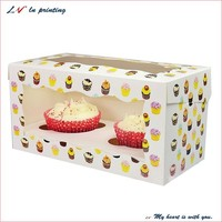 customized food grade mini paper cake box/ cheap clear cupcake box/ food packaging box wholesale