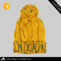 Custom beanies hat with top ball, knitted beanies hat wholesale in stock