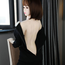 5.41ft Black dress lady sex doll cute Asian girl for men sex 165 cm fast delivery smart doll video