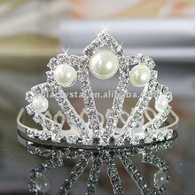 crystal bridal wedding crown with pearl hair comb tiaras, fashion wedding crown