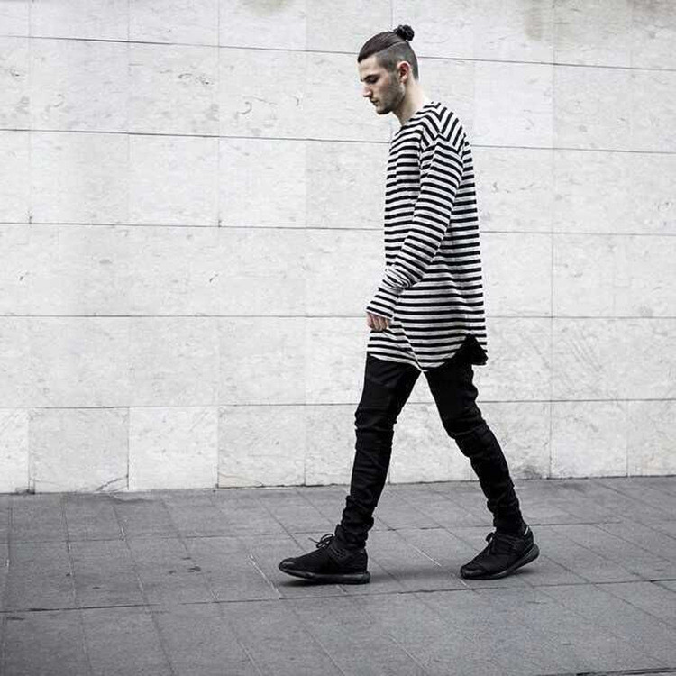 Cotton striped long oversize extend latest t shirts design for men