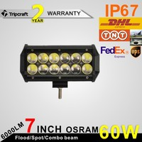 Latest product! 60W 4D Osram AUTO LED LIGHT 12V 24V Flood Beam Offroad Led Light Bar Trucks ATV SUV 4x4 Driving Lamp Led