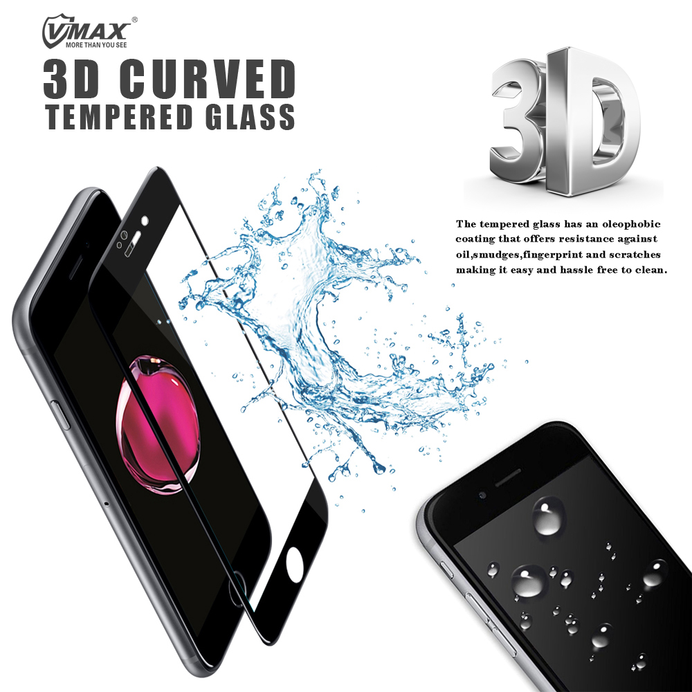 Mobile phone high clear 3d curved edge tempered glass protective film for iphone 7 plus screen protector