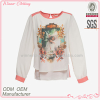 Trendy design fancy print long sleeve mexican clothing with back keyhole