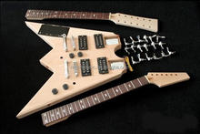 double neck V shape electric guitar kit