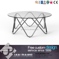 Home furniture modern tempered glass coffee table without wheels