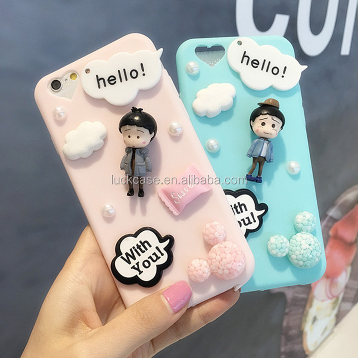 Wholesale Cell Phone Accessory Colorful soft gel silicone 3d lovely mobile case for iphone 5/6/6 plus