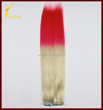 Aliexpress double drawn 100 virgin Indian remy human hair two tone ombre color skin weft PU tape hair extension with wholesale