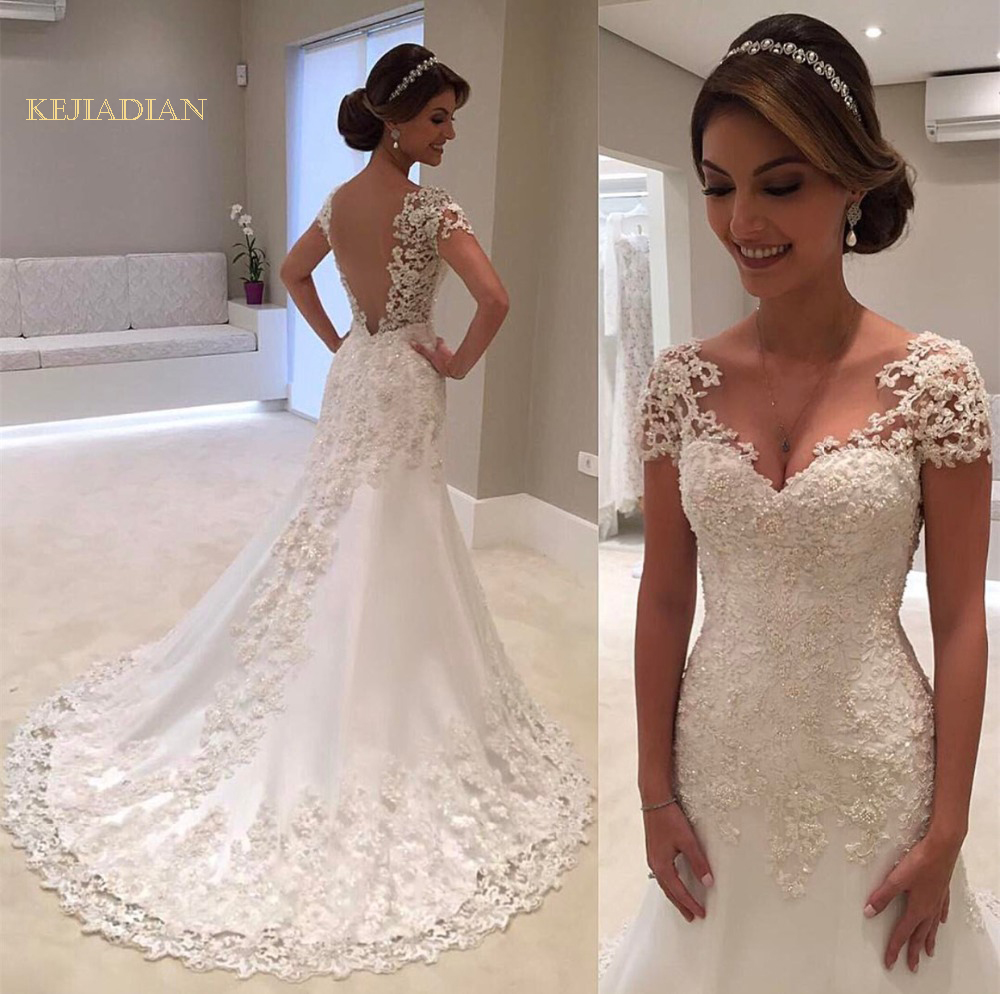 White Backless Lace Mermaid Wedding Dresses 2018 V-Neck Short Sleeve Wedding Gown Bride Dress Vestido de noiva Robe de mariage