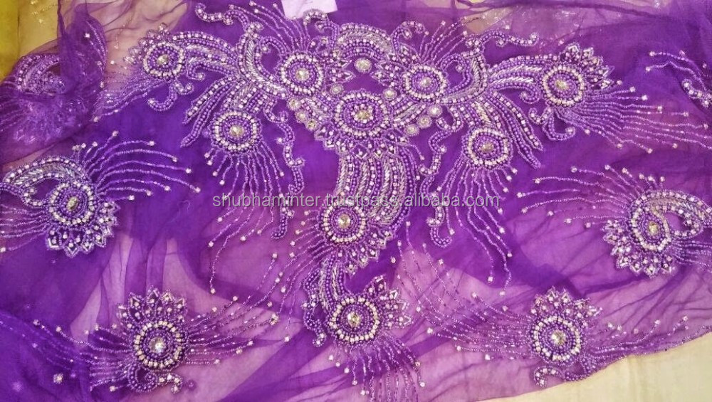 Purple Heavy Stones Beaded Net French Lace Fabric SM807