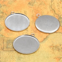 silver tone Stainless steel Glass Cabochon settings pendants fit 30mm glass dome