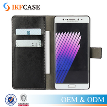 Hot Selling Wallet Style PU Leather Plastic Case for Samsung Galaxy Note 7 with Stand Function and Card Holder