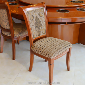 Antique fabric wooden restaurant chair,classic pattern fabric chair