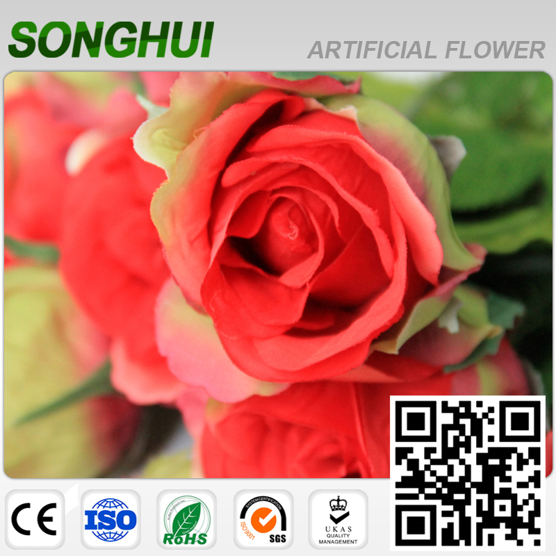 artificial red flowers wedding plants for home decoration