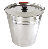 SHINY E016 Stainless steel bucket with lid and zebra