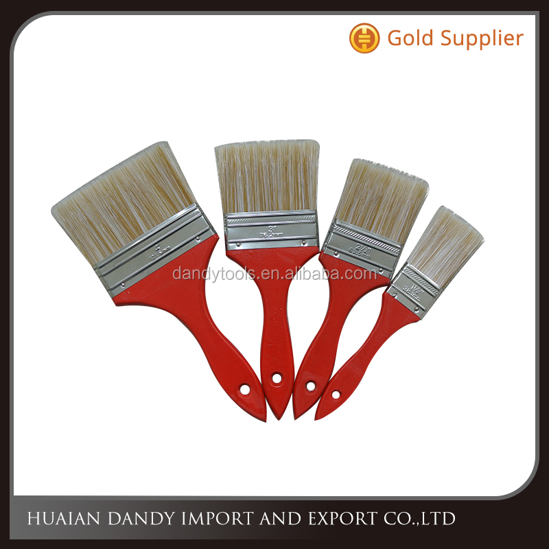 Popular thin cheap quality red wooden handle nylon bristle filament synthetic fiber full size paint brush cleaning hand tool