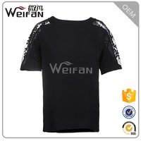 OEM Customized Ladies Short Sleeve Lace Wholesale T Shirts