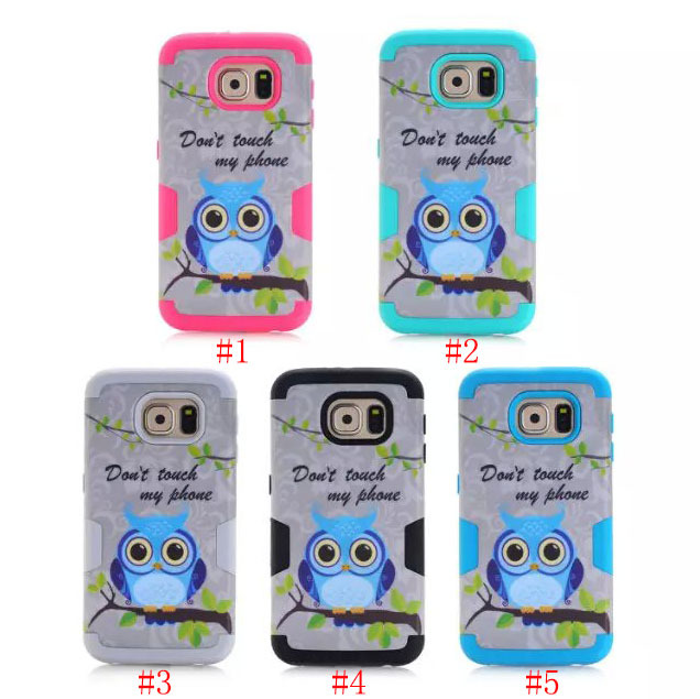 For Samsung Galaxy S6 Hybrid OWL Print Shockproof Cell Phone Cover Case