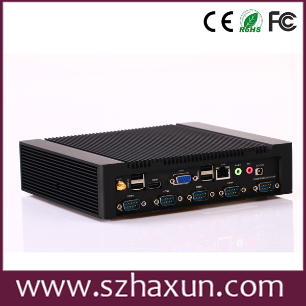 Fanless industrial PC rs485 / rs232,intel atom pc D2550,Integrated Intel GMA 3650 mini industry pc with 6 USB2.0,Support 3G