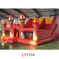 Lotting inflatable children outdoor playground big slides for sale