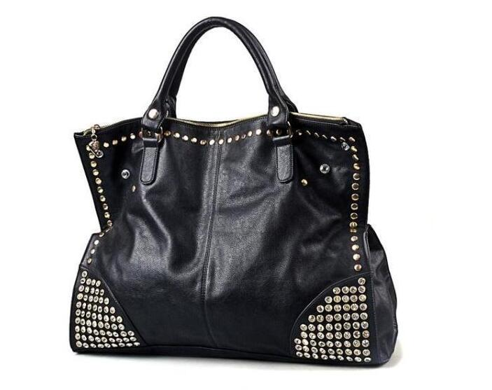 Professional import wholesale ladies fashion punk style black genuine or PU leather no name cheap purses handbags