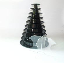 Hot selling plastic 10 tier macaron blister tower stand packaging pyramid shaped box of with acrylic bottom stand