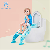 New plastic kids step stool toilet training baby potty seat with ladder for child