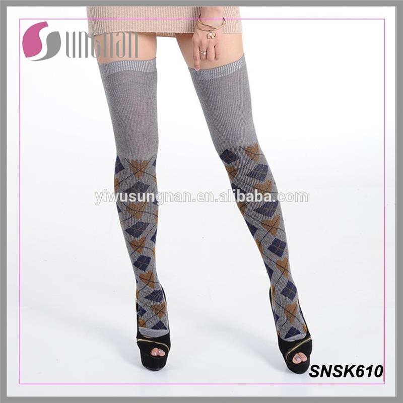 fashion wool material thigh high socks