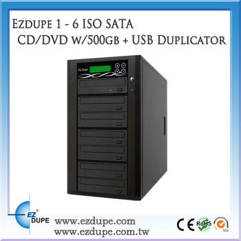 EZ Dupe 1 to 6 Targets ISO SATA BD/CD/DVD w/500 HDD + USB Duplicator
