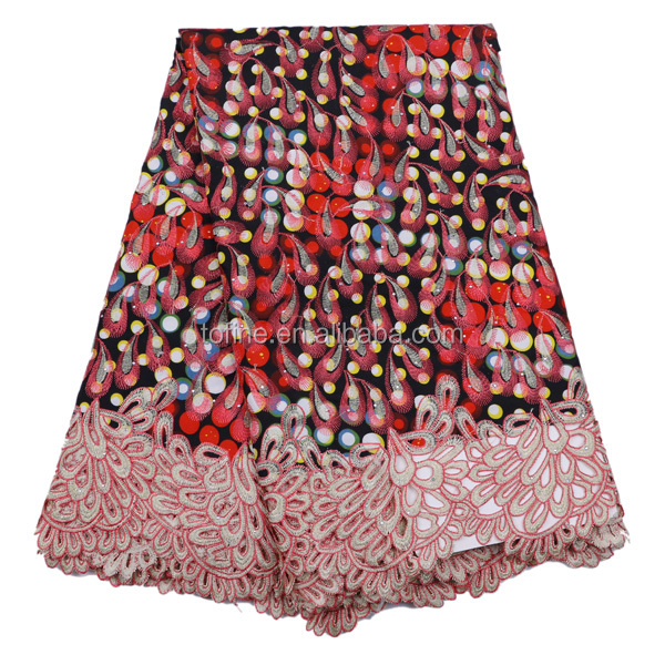 2016 Wax manufacturers china Wholesale african wax prints fabric with guipure lace for making dress