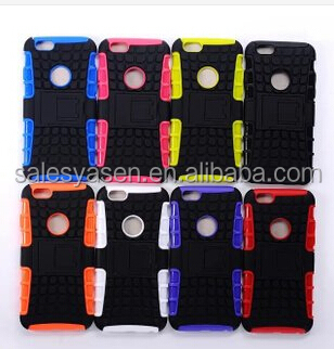 2014 new arrival hotting PC+silicone kickstand robot shockproof case for Iphone 6