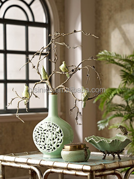 Unique Design Porcelain Vase With Branch & Birds Decorative Art, Decor Ceramic Enamel Flower Vase Inlaid With Bronze Tree Trunk