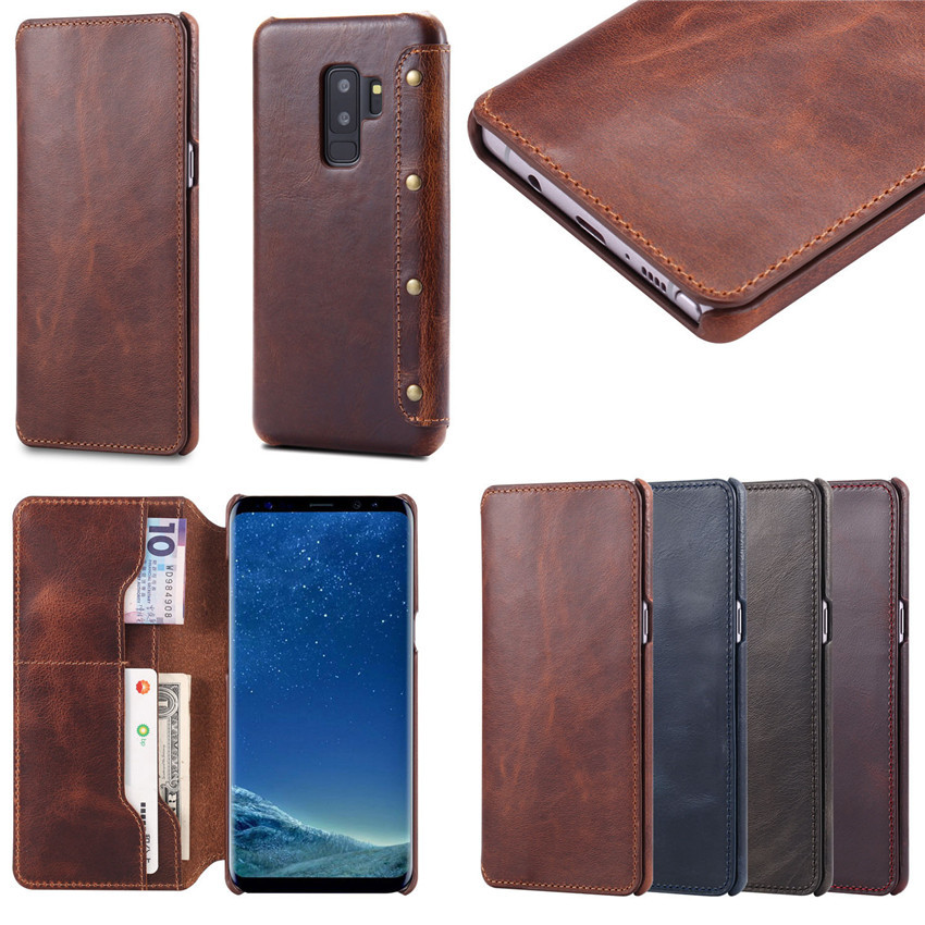 For Samsung Galaxy S9plus S9 Case Oil Wax Card Slot Flip Wallet Genuine Leather Case <strong>Cover</strong> MK2397