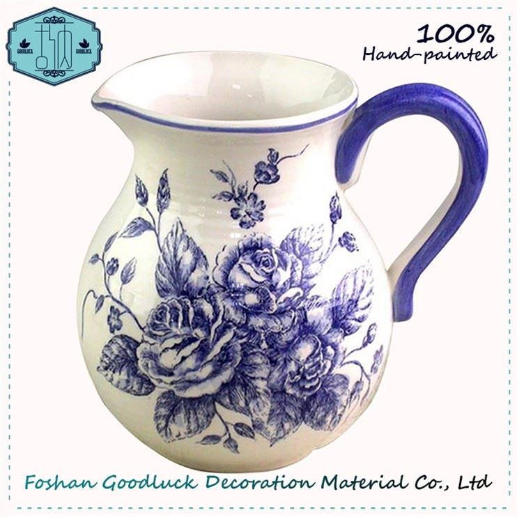 Hot Selling Hand Painted Blue Flower Smal Ceramic White Vase