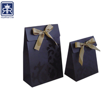 17121833 Custom Logo black jewelry gift bag with ribbon
