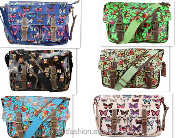 2017 hot selling oil cloth canvas teenage girl fashion kids school bags wholesale