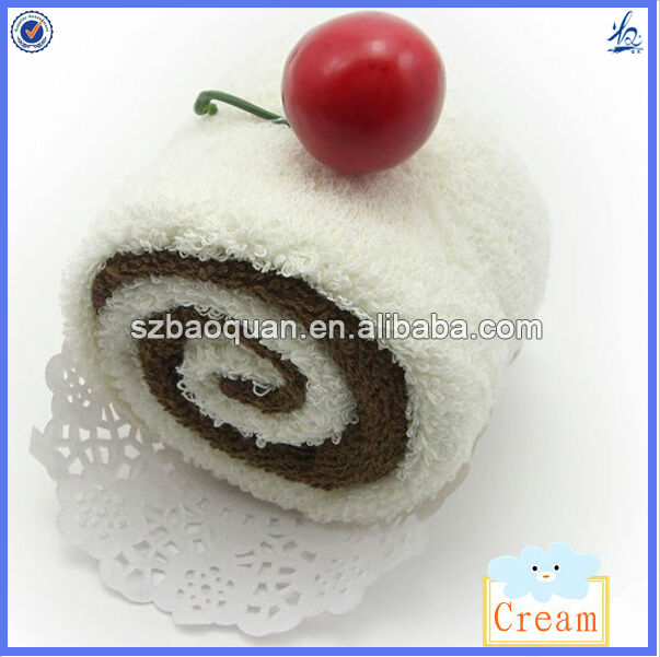 wholesale birthday cake towel gifts/cake towel gifts swiss roll towels