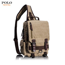VICUNA POLO Fashion Soft Durable Washed Canvas Backpack Bag Hiking Travelling Military Messenger Shoulder Bags for Men
