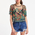 2017 Europe fashion buttoned keyhole botanical embroidered women mesh top