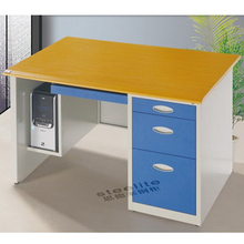 ready assembled locking sliding keyboard double sided office desk with drawers