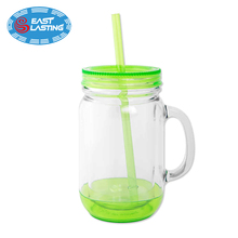 32 oz factory hot sales custom glass mason jar tumbler with straw and handle