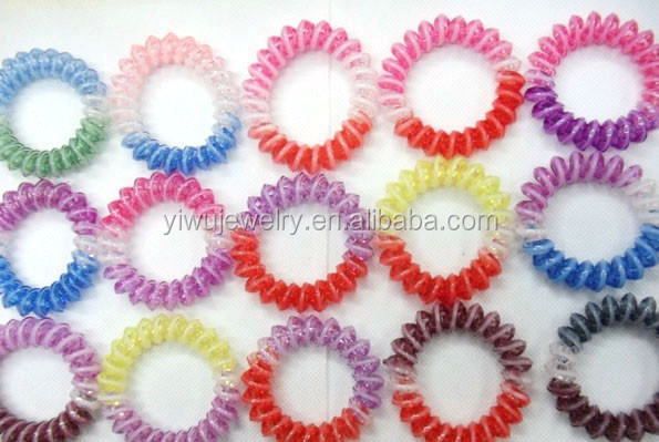H628-026 fluorescent colorful fashion fun lovely telephone line elastic hair tie plastic hair bun holder