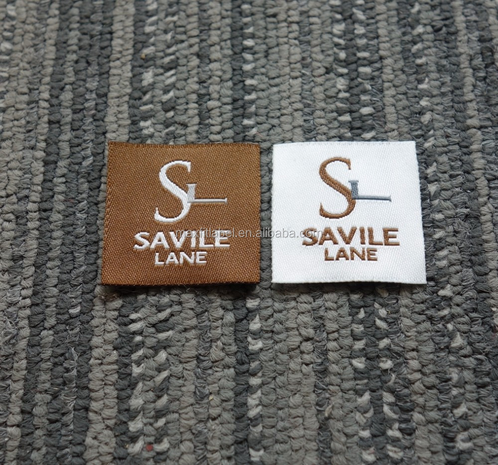2017 hot sales custom high density damask woven labels clothing tags