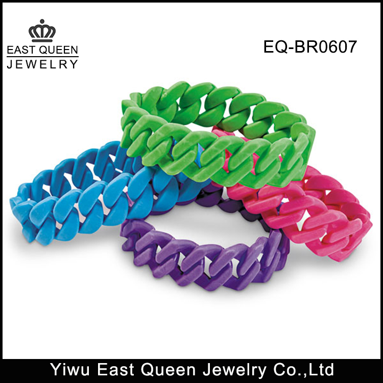Custom Cheap Fashion Rubber Chain Silicone Bracelet Wholesale