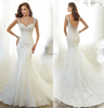 Elegant Mermaid Tulle Bridal Gowns New Custom Made lace Appliques sleeveless Wedding Dress 2015 vestido de novia